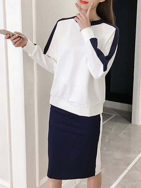 Black-white Crew Neck Simple Sweater Shirt and Skirt