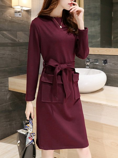 Long Sleeve Bow Elegant Solid Nylon Dress