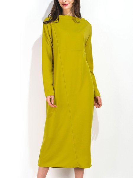 Yellow Cotton Long Sleeve Dress