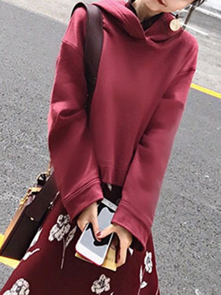 Solid Polyester Long Sleeve Hoodie