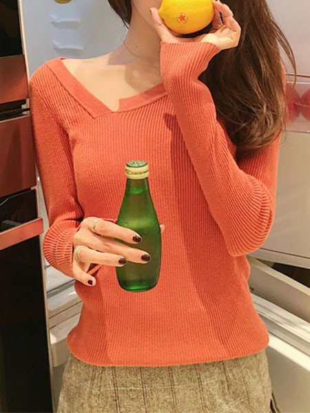 V Neck Knitted Polyester Long Sleeve Sweater