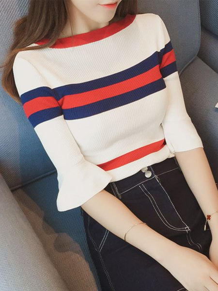 Casual Stripes Long Sleeve Sweater