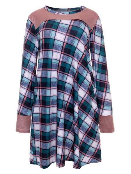 Checkered/Plaid Casual Cotton-blend Paneled Dress