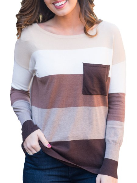 Cotton-blend Color-block Casual Long Sleeve Crew Neck Sweater