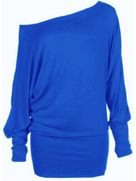 One Shoulder Casual Long Sleeve T-Shirt