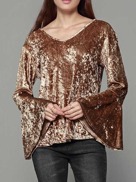 Solid V Neck Casual Frill Sleeve T-Shirt