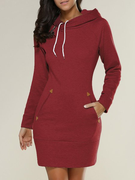 Casual Cotton-blend Solid Pockets Long Sleeve Dress