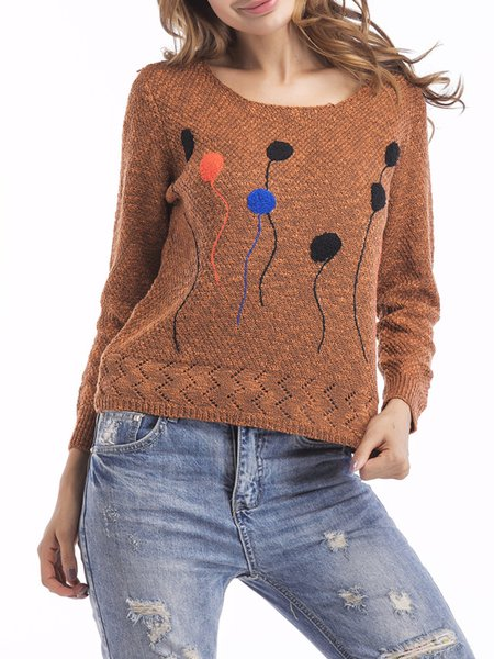Simple Cotton-blend Knitted Sweater