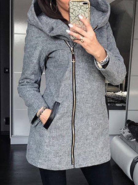 Long Sleeve Hoodie Cotton-blend Simple Hoodie