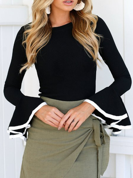 Solid Long Sleeve Cotton-blend Crew Neck Sweater