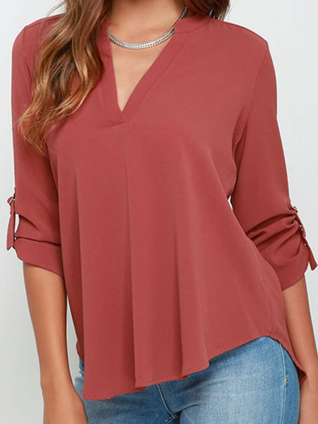 V Neck Solid Chiffon Simple T-Shirt
