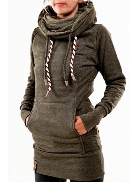 Cotton-blend Cowl Neck Solid Long Sleeve Sweatshirt