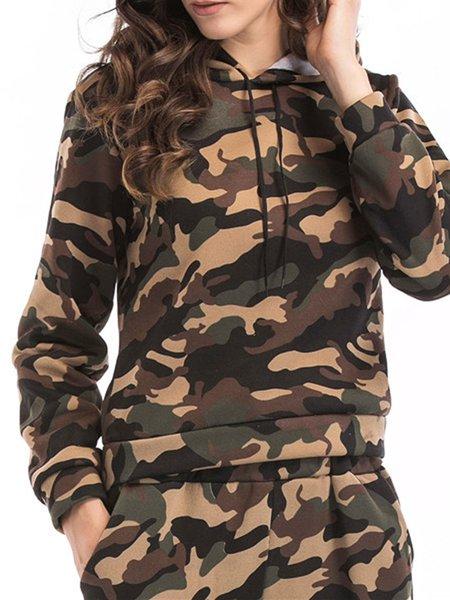 Cotton-blend Long Sleeve Hoodie Printed Simple Hoodie