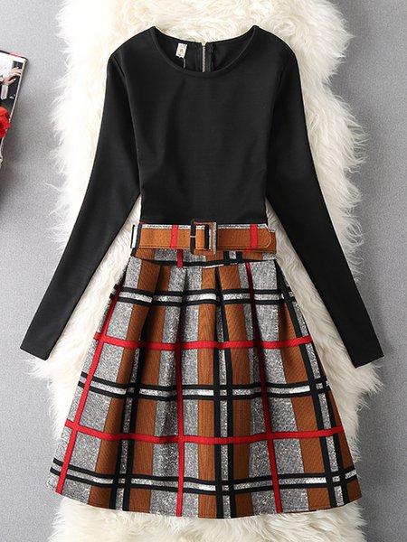 Paneled Checkered/Plaid Sheath Long Sleeve Dress