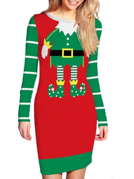 Green Crew Neck Long Sleeve Bodycon Dress