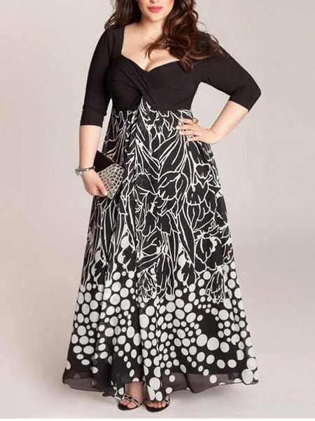 Black Abstract Elegant Sweetheart Dress