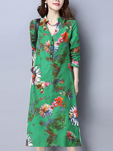 Long Sleeve Floral Casual Dress