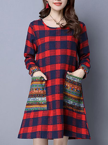 Casual Long Sleeve Crew Neck A-line Dress
