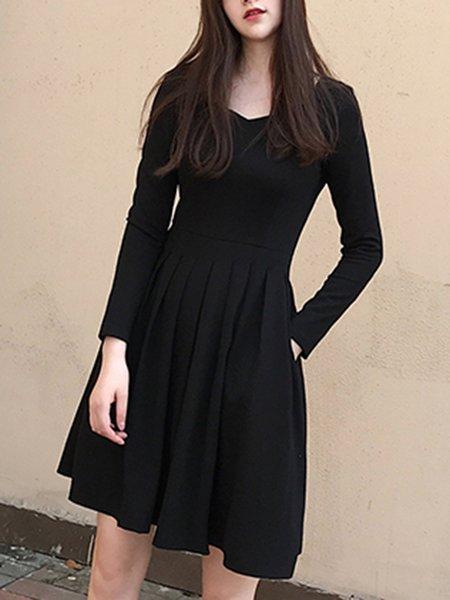 Pleated A-line Solid Elegant Long Sleeve Dress