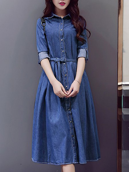 Deep Blue Solid Pockets Casual Dress