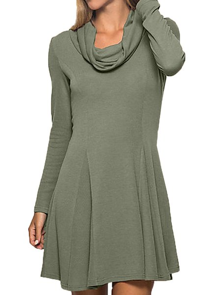 Green A-line Cotton-blend Casual Dress