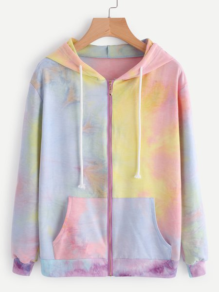 Multicolor Cotton-blend Long Sleeve Printed Ombre/Tie-Dye Hoodie