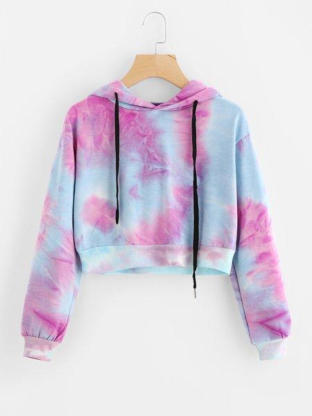 Multicolor Cotton-blend Simple Hoodie Printed Hoodie
