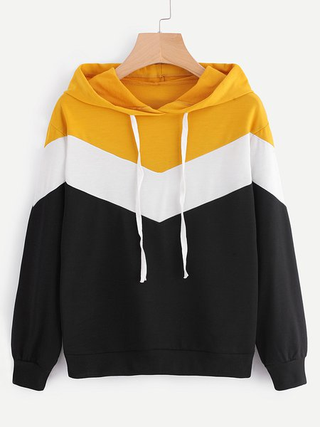 Stripes Long Sleeve Cotton-blend Hoodie