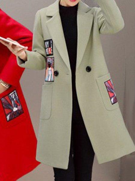 Lapel Solid Simple Cotton-blend Long Sleeve Coat