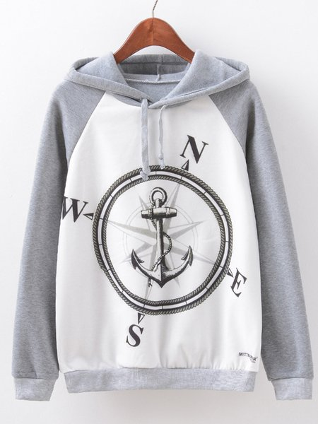 Gray Cotton-blend Printed Long Sleeve Hoodie