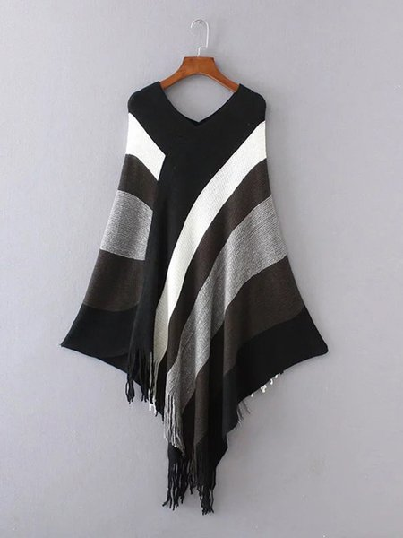 Cotton-blend Simple Long Sleeve Fringed Stripes Poncho