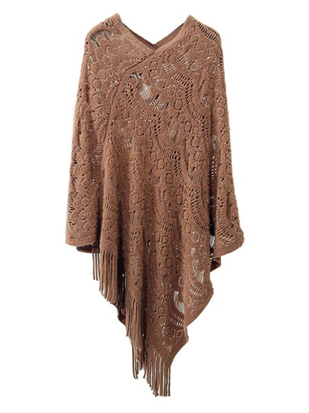 Simple Long Sleeve Solid Poncho