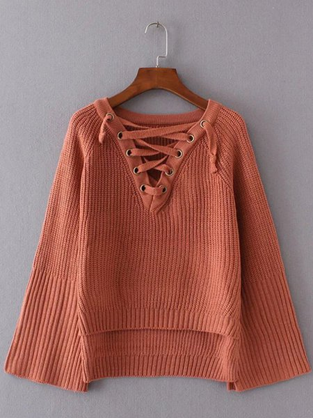 Long Sleeve Solid Simple Sweater