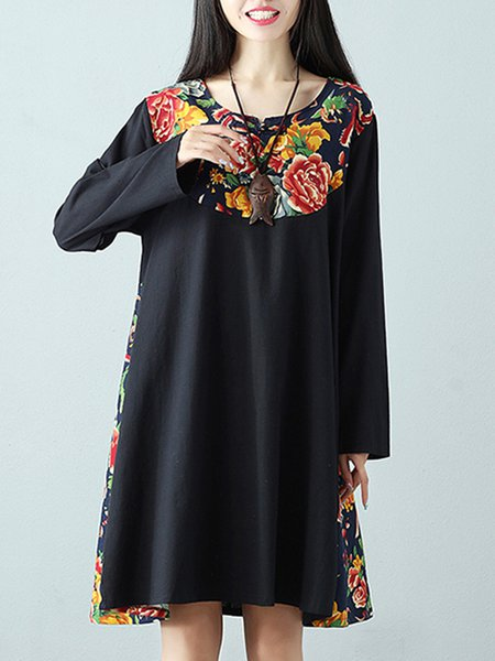 A-line Long Sleeve Vintage Dress