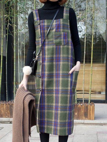 Women Casual Dress Square neck A-line Sleeveless Buttoned Dress