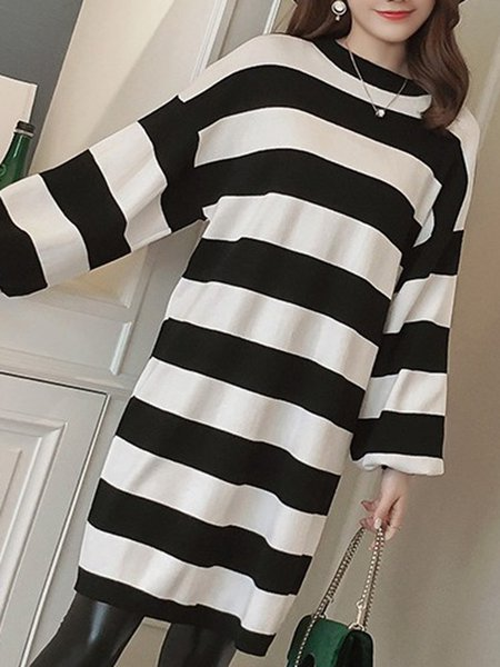 A-line Stripes Knitted Long Sleeve Simple Dress