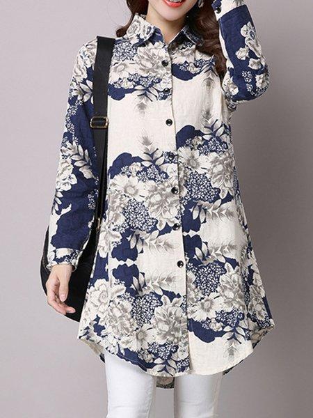 Shirt Collar Floral Long Sleeve Simple Cotton-blend T-Shirt