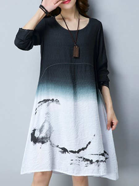 Simple Crew Neck Tribal Cotton-blend Dress