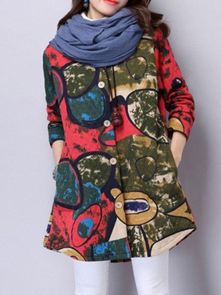 Long Sleeve Printed Simple Shawl Collar Coat