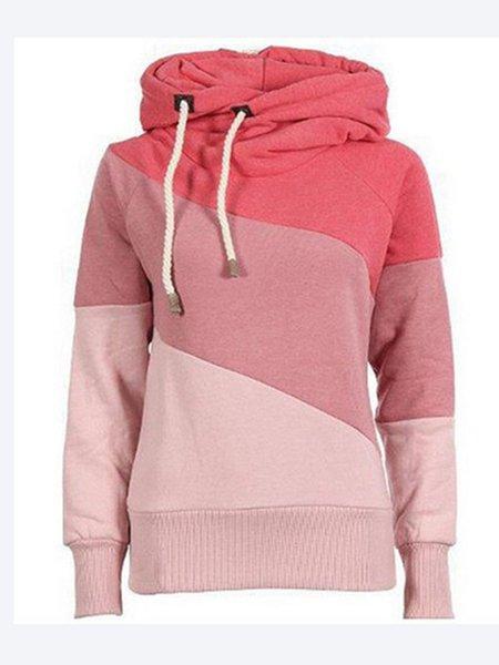 Long Sleeve Cowl Neck Cotton-blend Simple Sweatshirt