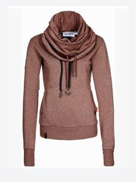 Brown Cowl Neck Long Sleeve Cotton-blend Sweatshirt