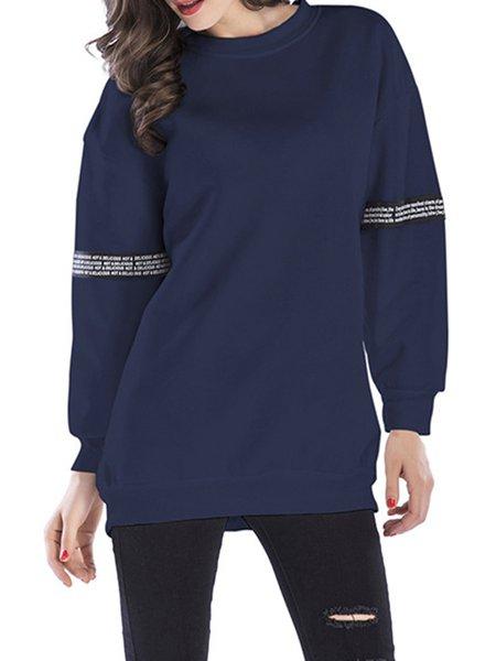 Long Sleeve Simple Crew Neck Printed Solid Sweatshirt