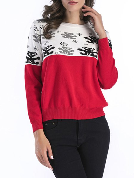 Simple Long Sleeve Animal Crew Neck Sweater