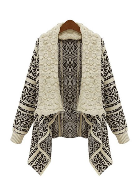 Long Sleeve Shawl Collar Knitted Cardigan
