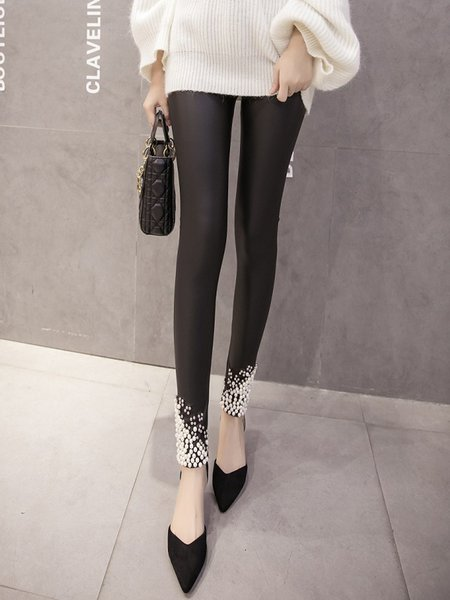 Black Casual Buttoned PU Pants
