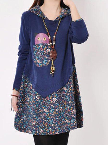 Hoodie Paneled Cute Long Sleeve Cotton Dress