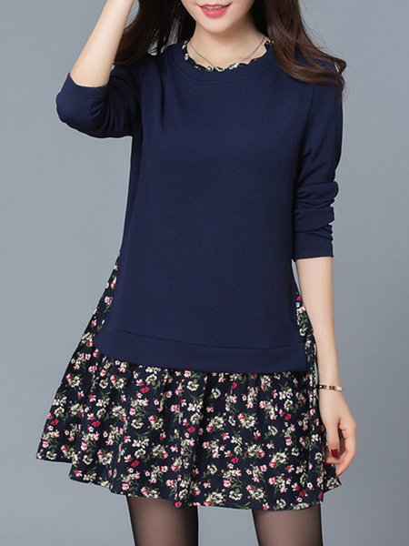 Solid Long Sleeve Casual Paneled Crew Neck Dress