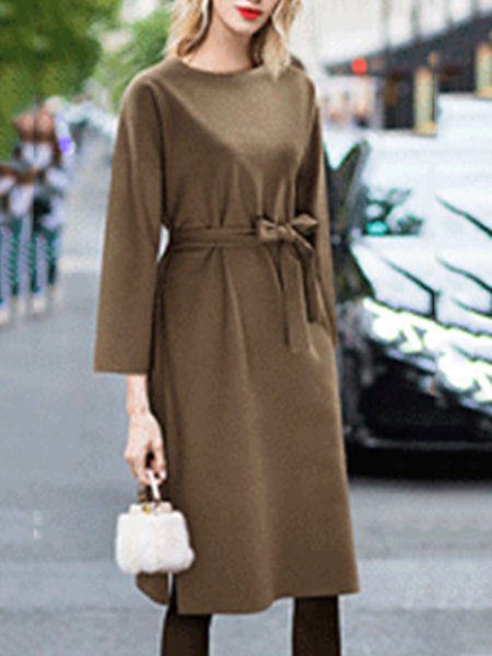 Polyester Simple Crew Neck Long Sleeve Dress