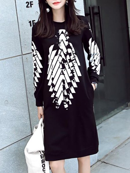 Black Crew Neck Geometric Cotton Simple Dress