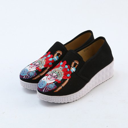 Chinese Style Embroidery Platform Canvas Slip On Loafers
